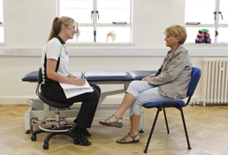 Liverpool OT has introduction chat with a patient in Liverpool OT clinic.